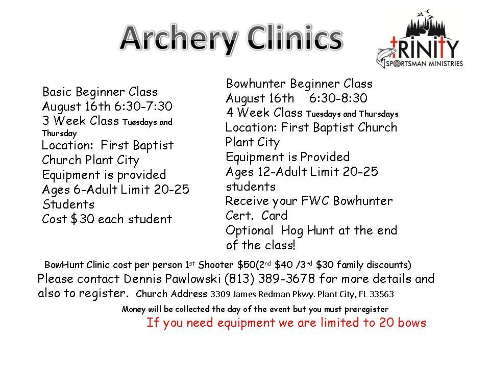 08-16-18 Trinity Sportsman Archery Clinic